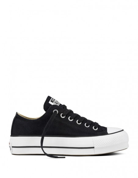 Converse Chuck Taylor All Star Low Top Plataforma Negras Mujer