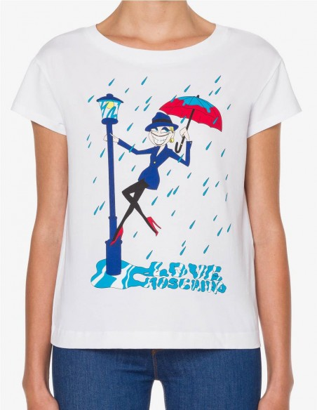 Camiseta Love Moschino Singing in the Rain Blanca Mujer