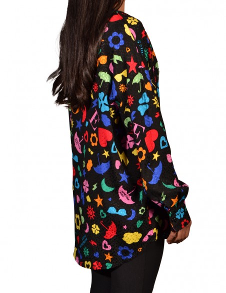 Camisa Love Moschino Muchos Prints Negra Mujer WCD9200T087A-0003