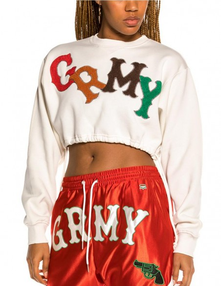 Sudadera Crop Grimey The Loot Blanca Mujer Ggcsw346-Wht White