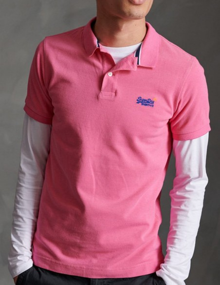 Polo Superdry Slim Fit Rosa Hombre