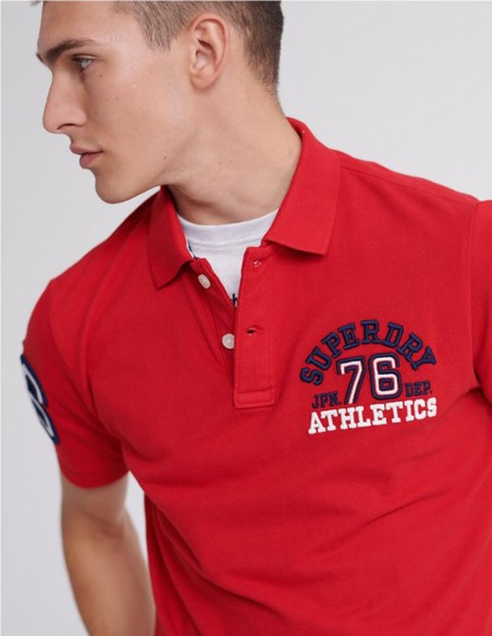Polo Superdry Classic Superstate Blanco Hombre M1110008a-01C Red