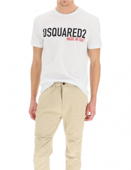 Camiseta Dsquared2 Made in Italy Logo Blanca Hombre S74GD0828-100