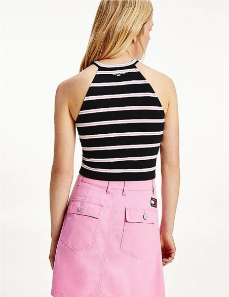 Top Tommy Jeans a Rayas Negro Mujer DW0DW09781-0AX