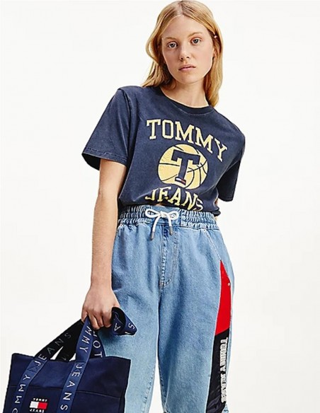 Camiseta Tommy Jeans Cropped Azul Mujer DW0DW09817-C87