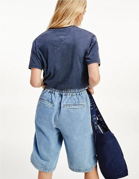 Camiseta Tommy Jeans Cropped Azul Mujer Dw0dw09817-C87 Blue