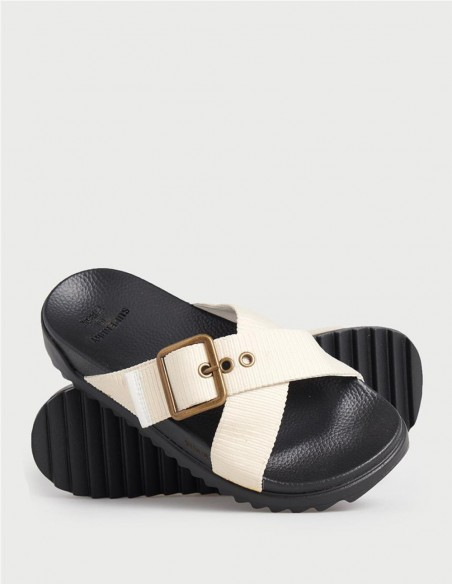 Sandalias Superdry Square Buckle Beiges Mujer