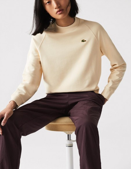 Sudadera Lacoste LIVE Cropped Beige Mujer