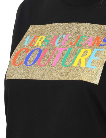 Camiseta Versace Jeans Couture Negra Mujer 71HAHT07CJ00T-899