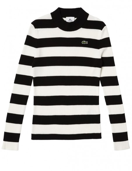 Jersey Lacoste Live a Rayas Blanco y Negro Mujer AF7124-00-9M0