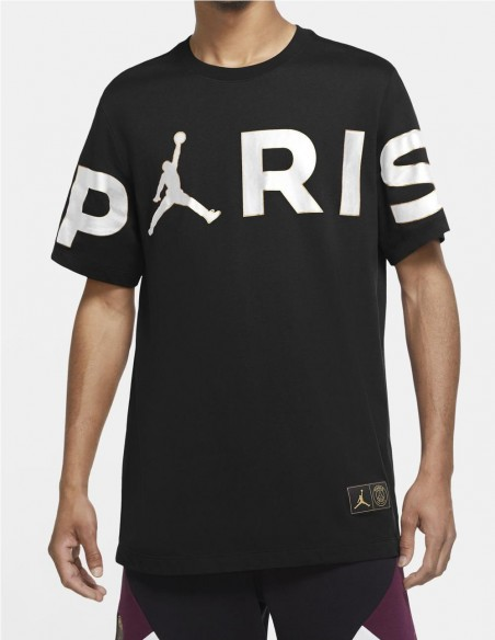Camiseta Jordan x Paris Saint-Germain Negra Hombre