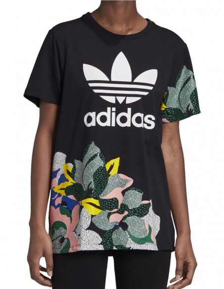 Camiseta Loose Fit adidas con Flores Negra Mujer