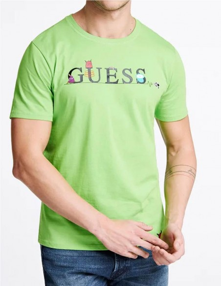 Camsieta GUESS Monsters Verde Hombre