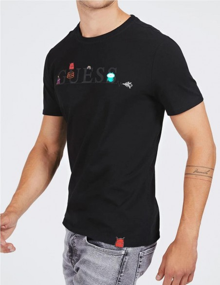 Camiseta GUESS Monsters Negra Hombre