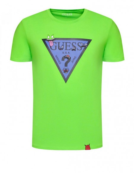 Camiseta GUESS Monster Triangle Verde Hombre