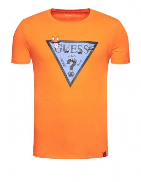 Camiseta GUESS Monster Triangle Naranja Hombre