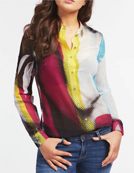 Camisa Guess On Cara Pop Art Multicolor Mujer W0yh96 W70q P67n Multicolor