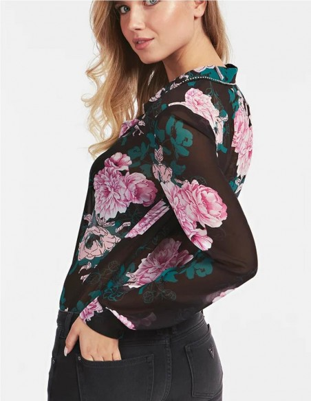 Camisa GUESS Negra con Flores Mujer