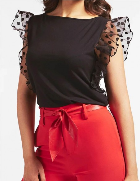 Camiseta con Volantes GUESS Negra Mujer