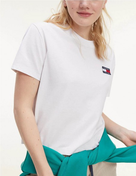 Camiseta Tommy Jeans Corta Logo Pequeño Blanca Mujer