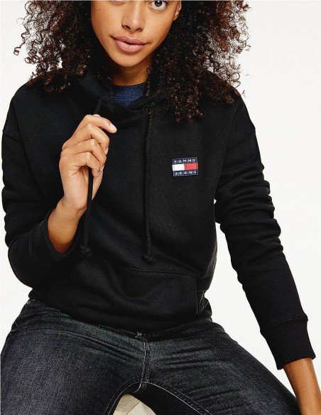 Sudadera Tommy Jeans con Capucha Negro Mujer