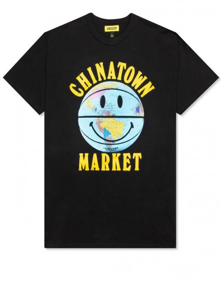 Camiseta Chinatown Market Smiley Globe Ball Negra Hombre